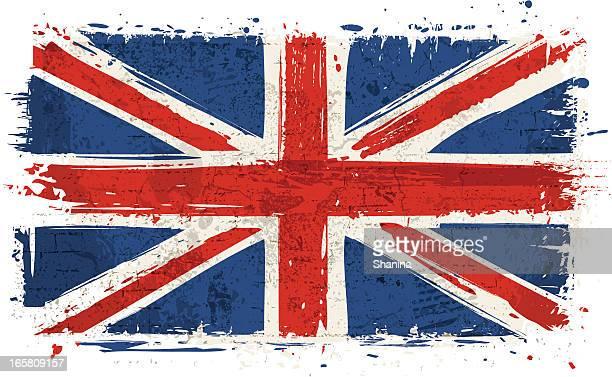 flag of united kingdom on wall - british culture stock illustrations
