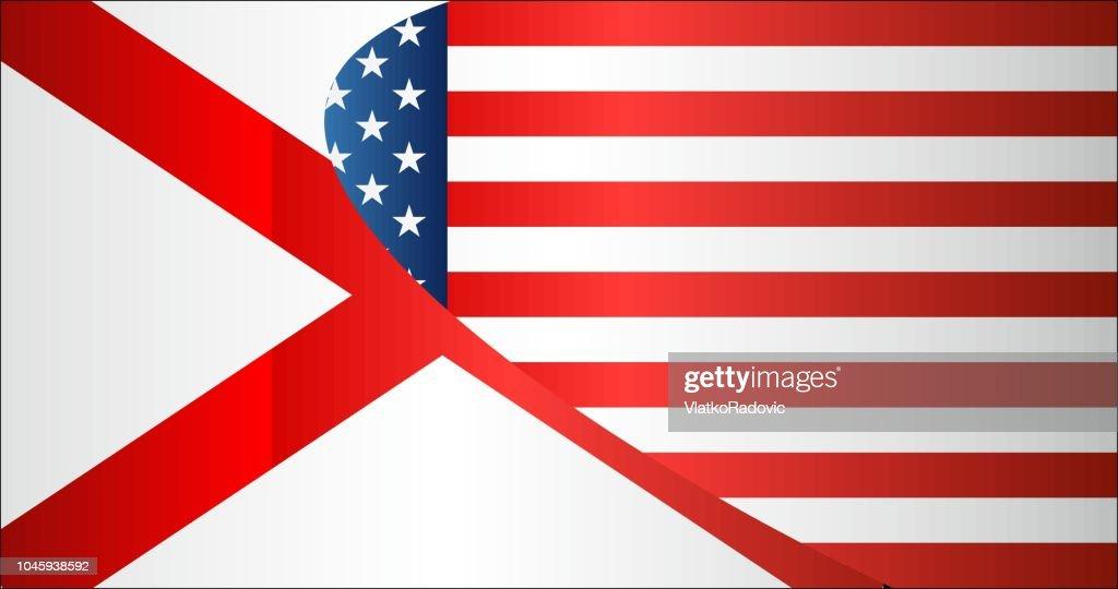 Flag of USA and Alabama state