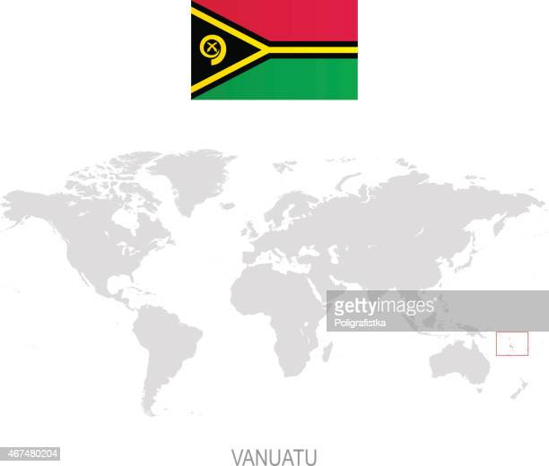 Flag of Vanuatu and designation on World map