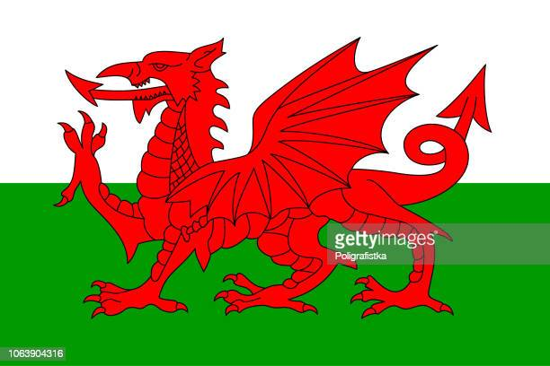 flag of wales - all european flags stock illustrations