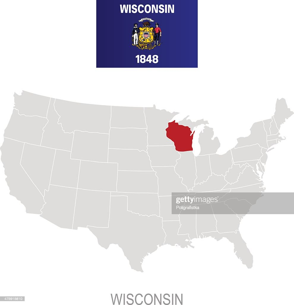 Flag Of Wisconsin And Location On Us Map Vector Art | Getty Images