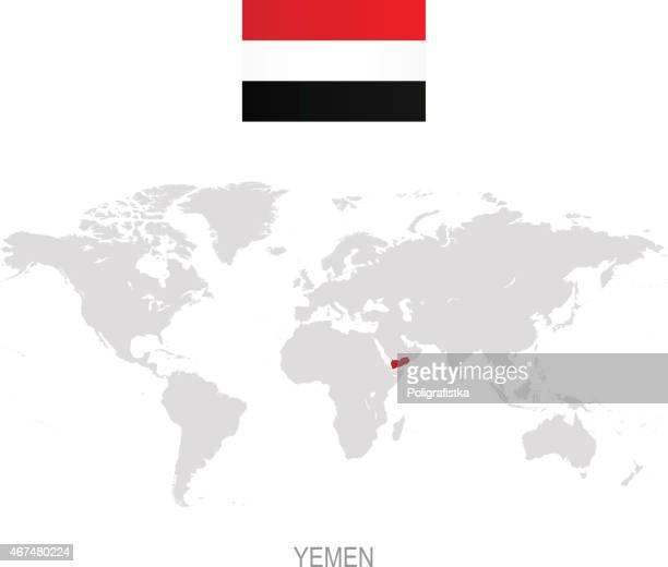 flag of yemen and designation on world map - yemen stock illustrations, clip art, cartoons, & icons