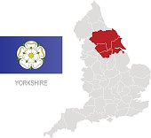 Flag of Yorkshire and location on England map