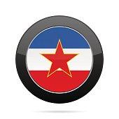 Flag of Yugoslavia. Shiny black round button.
