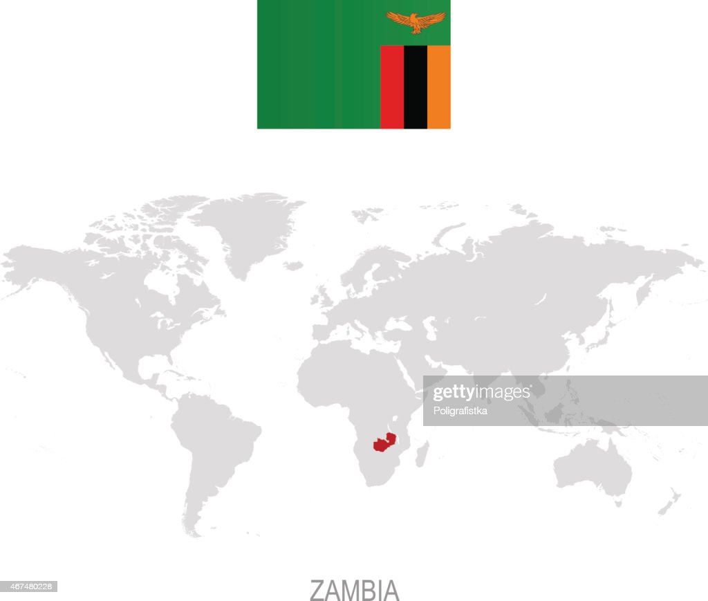 Flag Of Zambia And Designation On World Map Vector Art | Getty Images