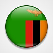 Flag of Zambia. Round glossy badge