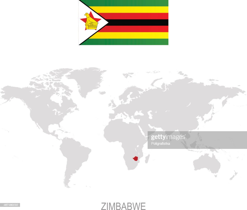 Flag Of Zimbabwe And Designation On World Map Vector Art | Getty Images