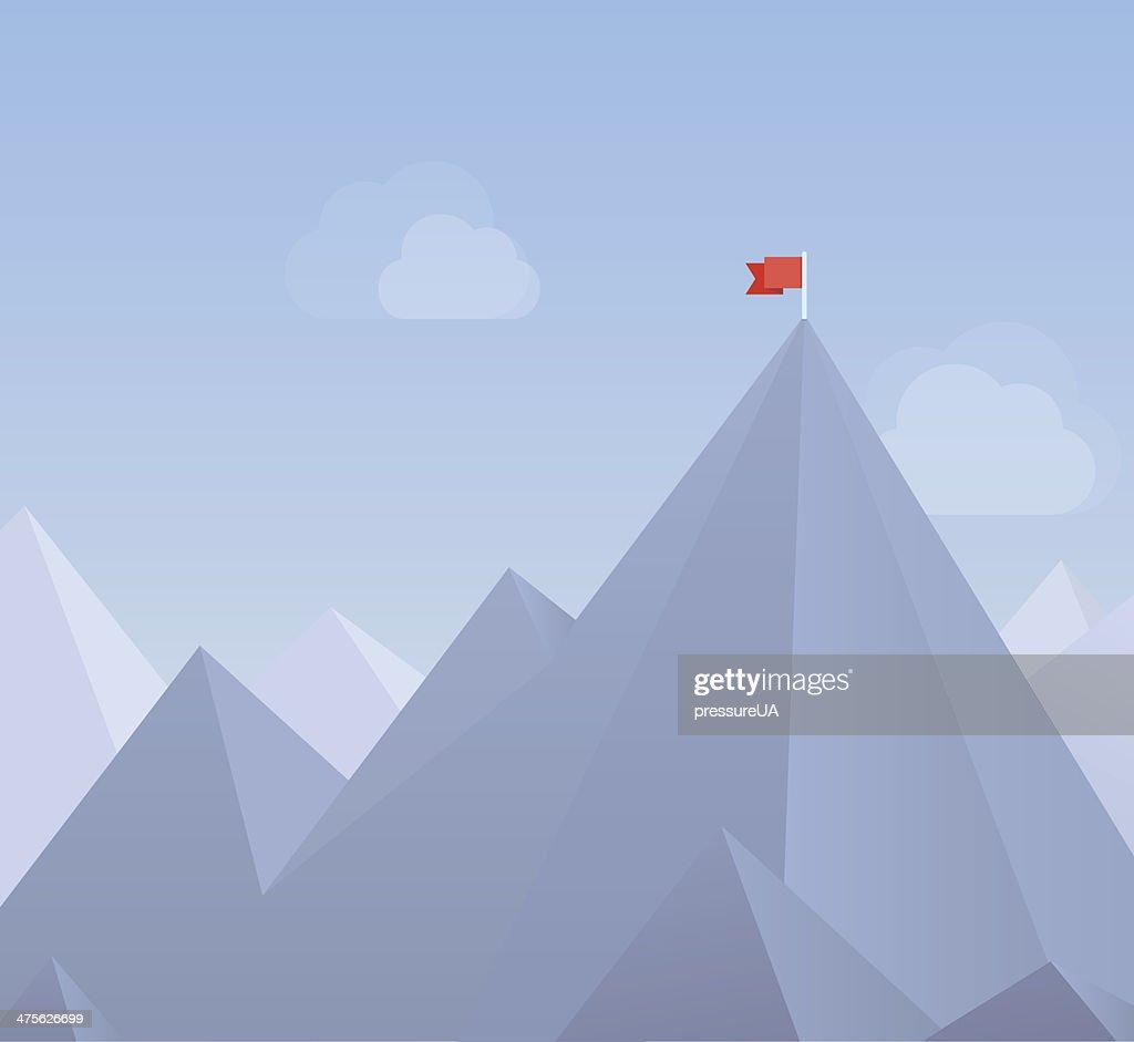 Flag on a mountain peak flat illustration
