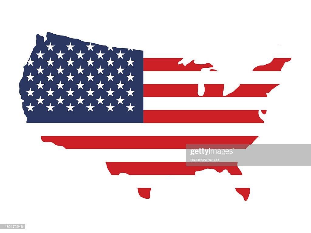 USA flag on map silhouette / shape