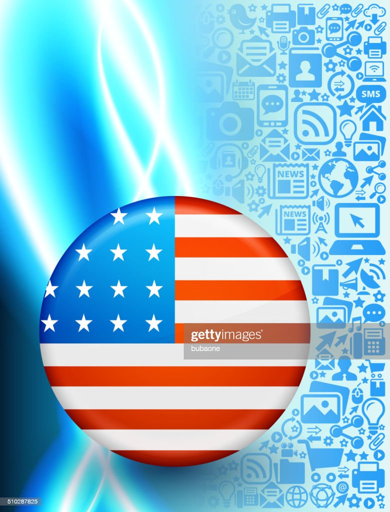 USA Flag on Modern Technology & Communication Background