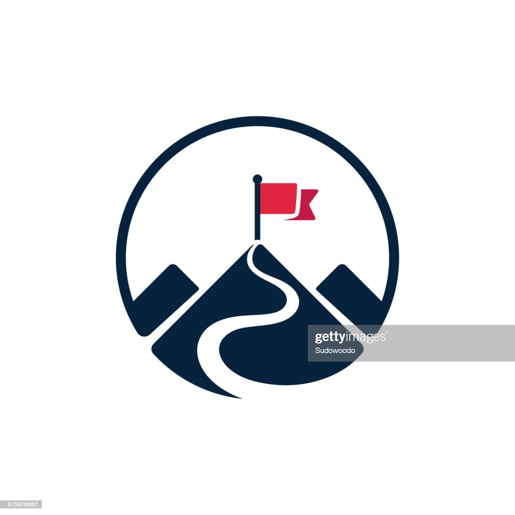 Flag on mountain top icon