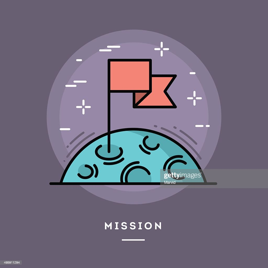 Flag on the moon as a metaphor for business mission