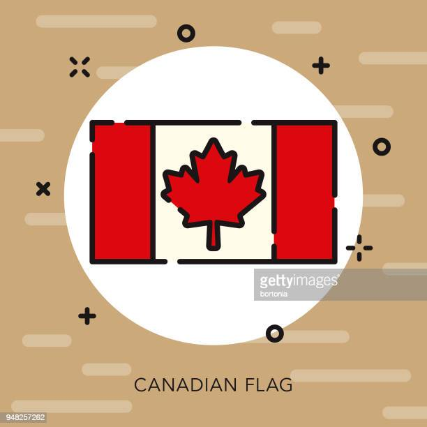 flag open outline canadian icon - canadian flag stock illustrations, clip art, cartoons, & icons