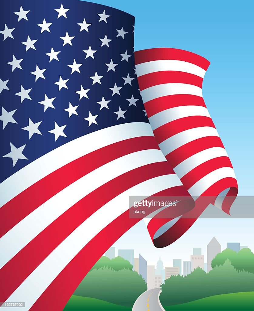 US Flag Over City