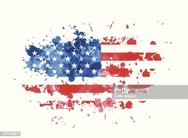 USA flag over grunge splash