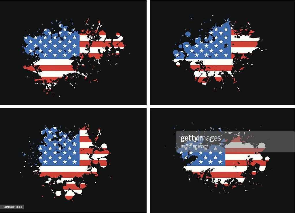 USA flag over grunge splashes