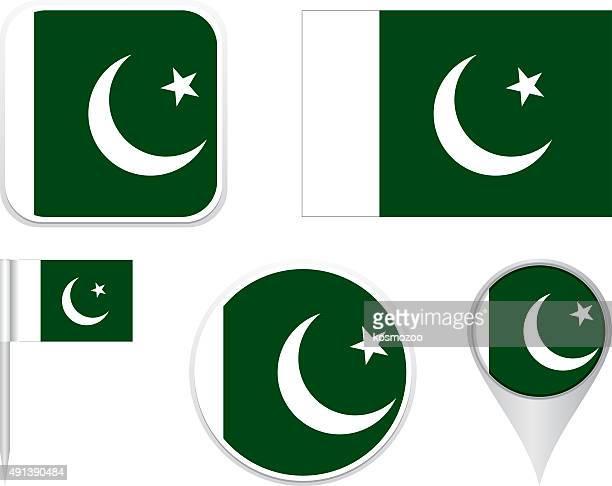 stockillustraties, clipart, cartoons en iconen met flag pakistan - pakistan