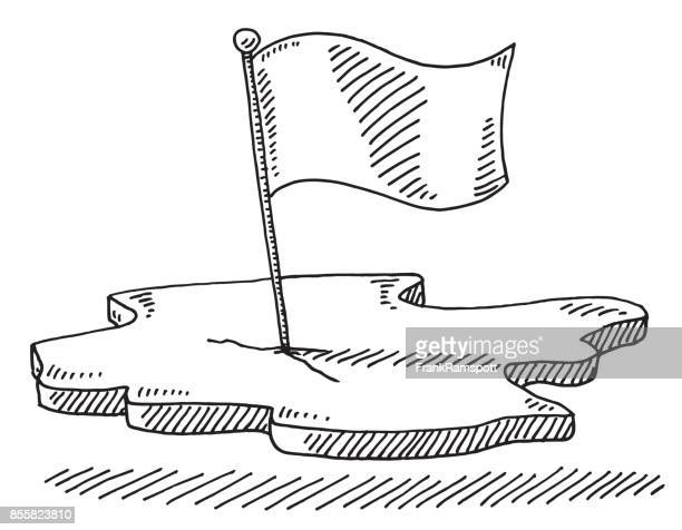 flag piece of land symbol drawing - pen and ink stock illustrations