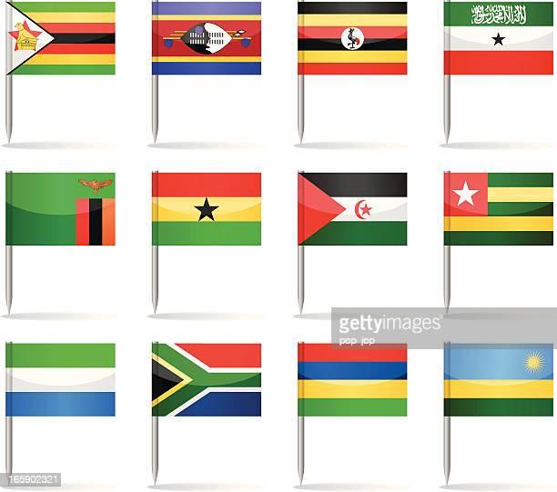 flag pins - africa - zimbabwe stock illustrations, clip art, cartoons, & icons