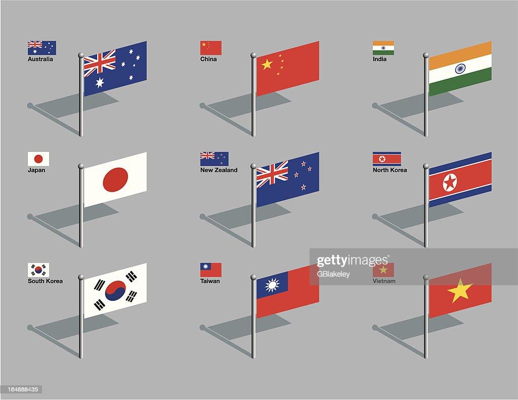Flag Pins - Asia, Pacific