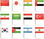 Flag pins - Asia