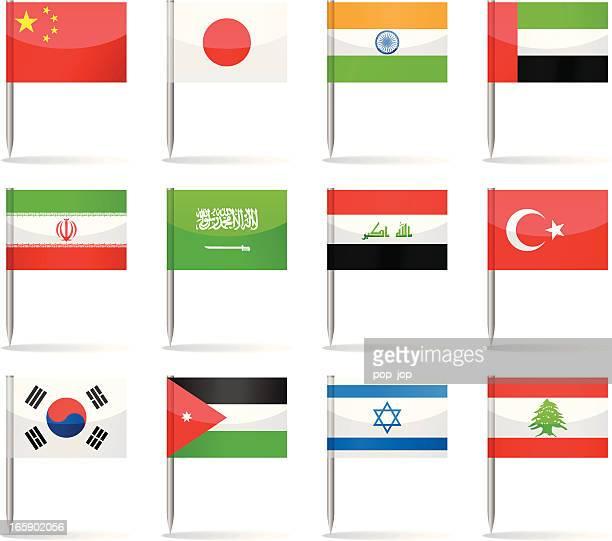 flag pins - asia - japanese flag stock illustrations, clip art, cartoons, & icons