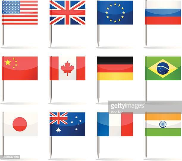flagge-pins beliebtesten - amerikanische kontinente und regionen stock-grafiken, -clipart, -cartoons und -symbole
