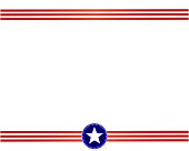 USA flag red blue frame with blank space for text.