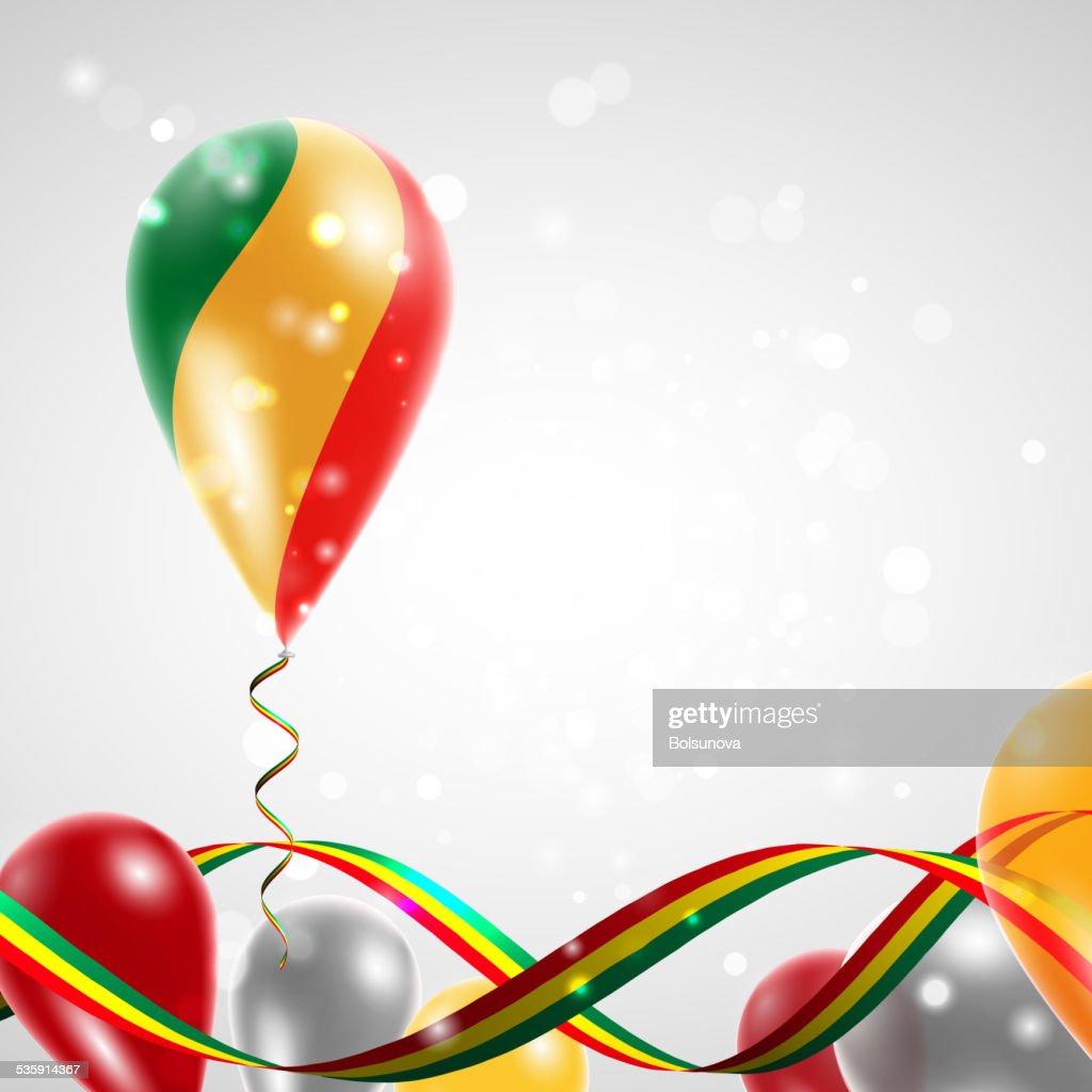 Flag Republic of Congo on balloon : Vector Art