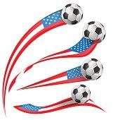 USA flag set whit soccer ball