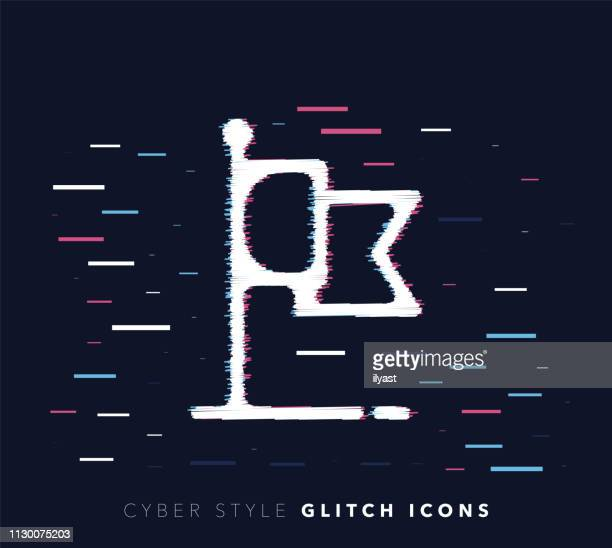 Flag State Glitch Effect Vector Icon Illustration