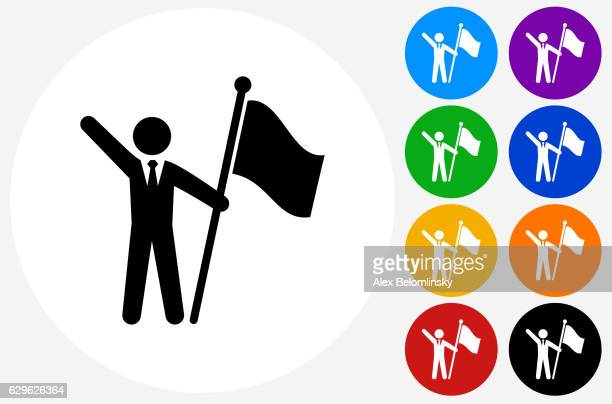 flag stick figure icon on flat color circle buttons - assertiveness stock illustrations, clip art, cartoons, & icons