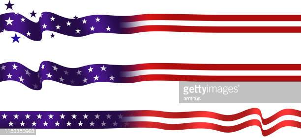 us flag strip set - politics abstract stock illustrations