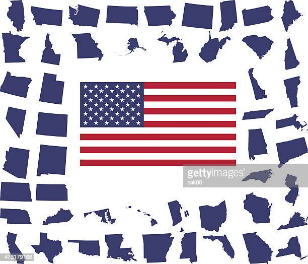 US Flag Surrounded By States