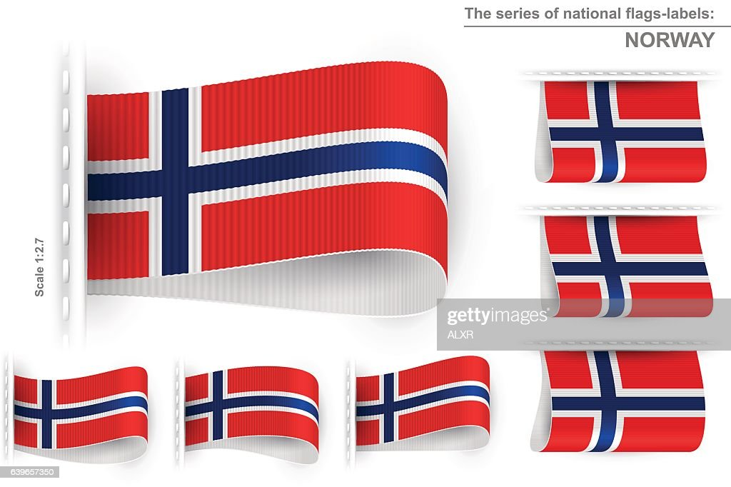 Flag Tag Clothes Label Sticker Sewn Set Norway