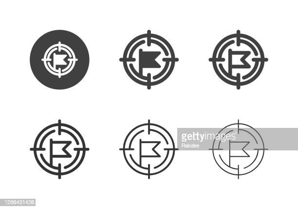 flag target point icons - multi series - flagship store stock illustrations