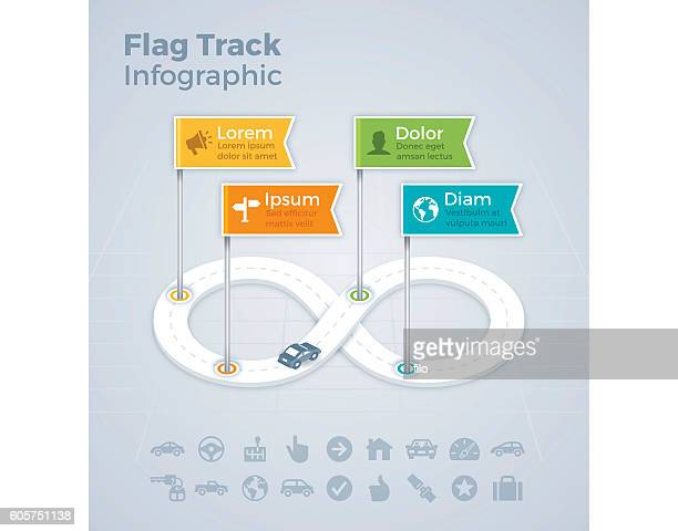 flag track infograhic - loopable elements stock illustrations
