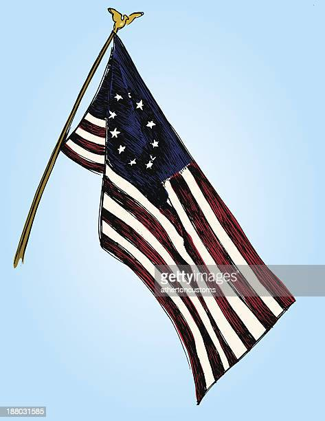 us flag - colony stock illustrations