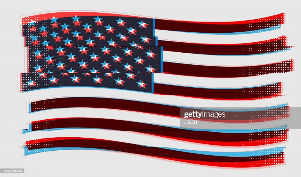 US flag. Vector illustration with glitch effect