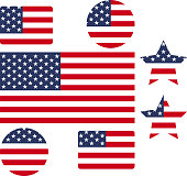 USA flag vector outline icon set illustration backgrounds. Creative graphic designs of flag of United States of America