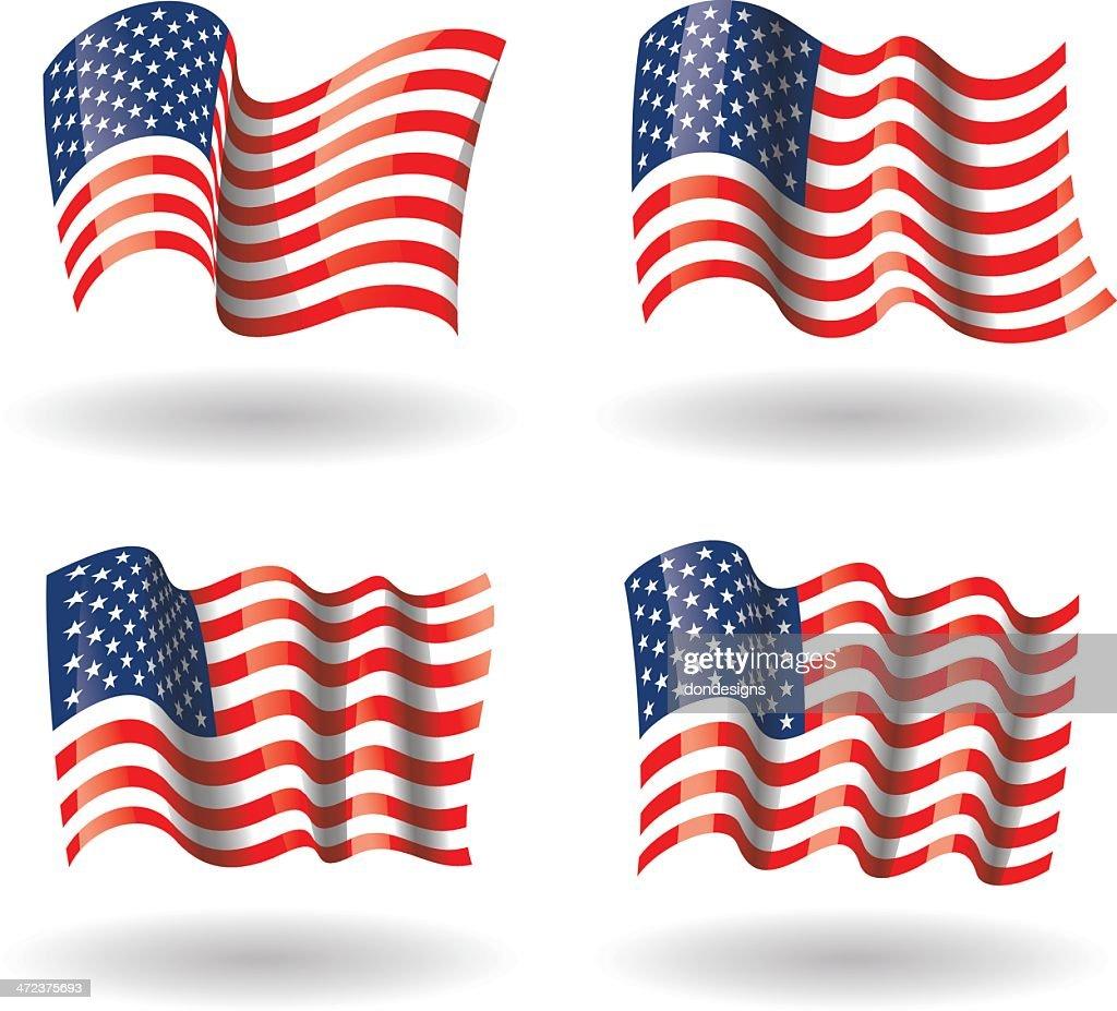 USA Flag Waving Set