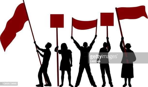 flag waving - protestor stock illustrations