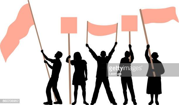 flag waving - protest stock illustrations, clip art, cartoons, & icons