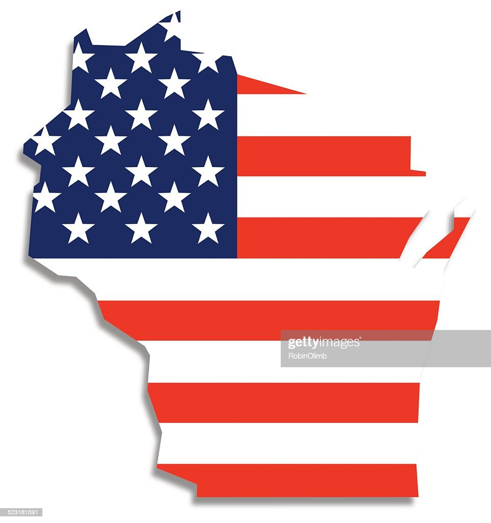 Usa Flag Wisconsin Map Vector Art Getty Images