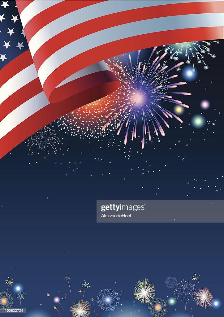 USA flag with fireworks and dark blue night sky