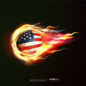 USA flag with flying soccer ball on fire, vector illustration