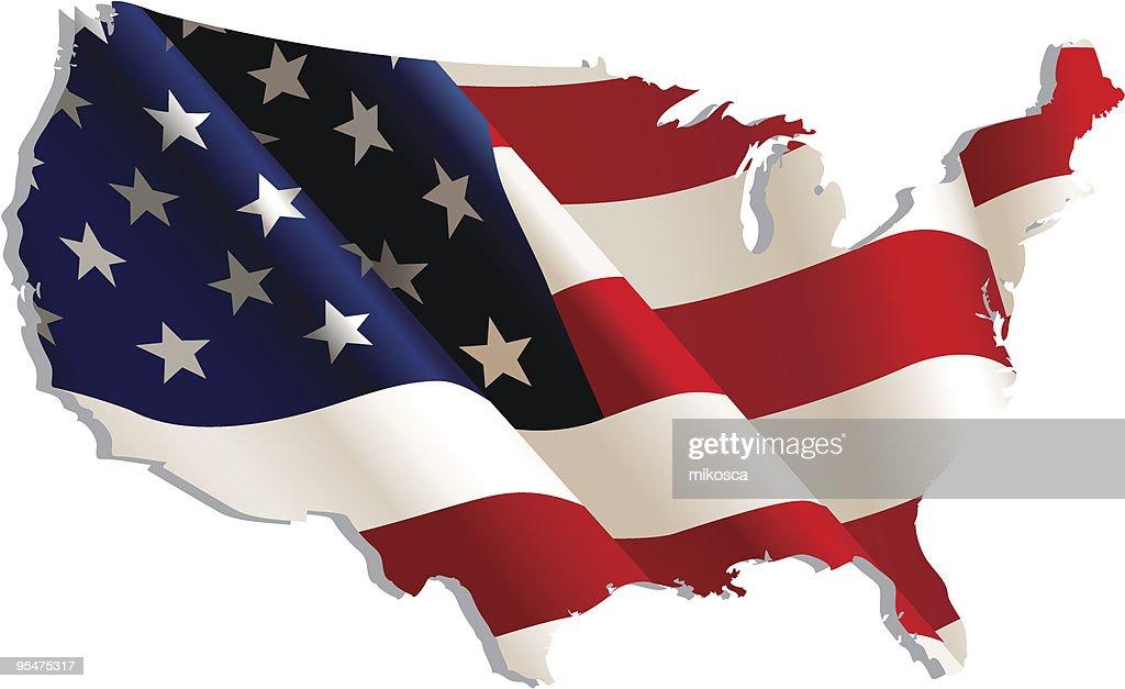 USA. Flag-map