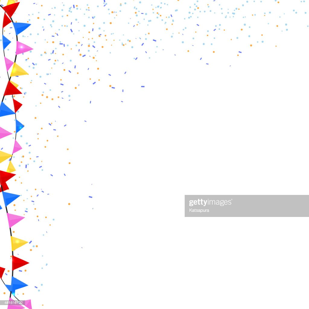 Flags and confetti on a white background. Vector illustration