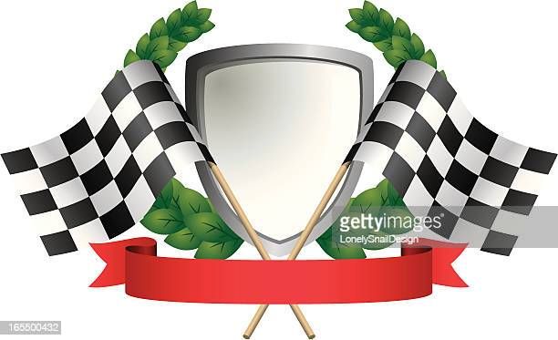 flags and shield - award plaque stock illustrations, clip art, cartoons, & icons