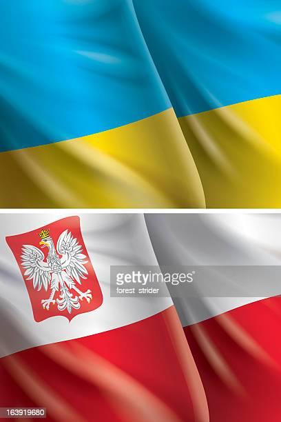 flags hintergrund der ukraine und polen euro 2012 - polen stock-grafiken, -clipart, -cartoons und -symbole